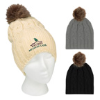 Cameron Embroidered Cable Knit Pom Beanie