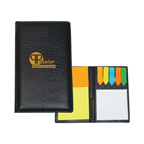 Leather Look Padfolio With Sticky Note Pads & Flags