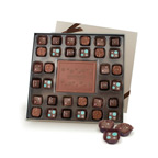 Large Square Chocolate Truffle Box With Window and  Custom Centerpiece
