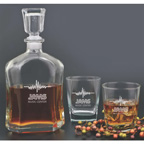 Deluxe 3 Peice Glass Decanter Set with Glasses